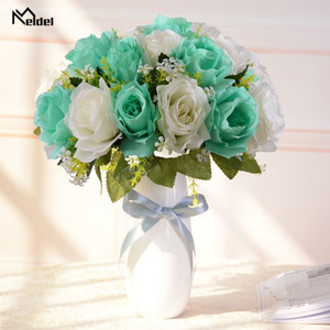 Meldel Artificial Flower Mini Bouquet 18 Heads Silk Rose Flower Arrangement Bridesmaids DIY Home Party Decor Fake Flowers Bunch