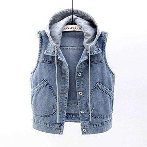여성용 조끼 Streetwear 짧은 단락 Jean 후드 조끼 여성 캐주얼 데님 민소매 자켓 코트 패 얄팔 빈티지 가을 의류