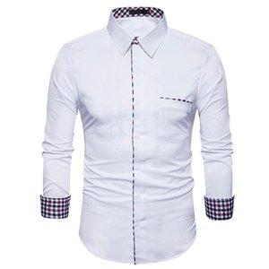 Мужской Tshirts плед однобортной Повседневная Homme Tops Spring Mens ТРУБОПРОВОДНЫХ Твердые рубашек отворот шея длинный рукав