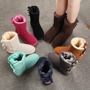 Austrália Mulheres neve botas de couro genuíno couro Bow tornozelo botas quentes do inverno Mulher Botas Sapatos Tamanho Grande Plush Fur planas Sapatos casuais