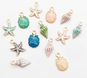 13pcs lot Nautical Ocea Enamel Sea Starfish Shell Conch Hippocampus Charms Colorful Oil Drop Pendant for Jewelry accessories DIY Best Gift