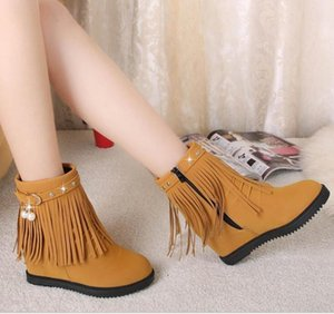 women Breathable classic elegant fashion flock warm boots cancise pumps winter Soft and comfortable wedges women casual boots