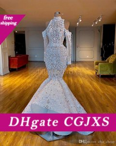 아프리카 두바이 Weddingdresses 높은 목 페르시 크리스탈 신부 드레스 긴 소매 웨딩 드레스를 기절 2020 고급스러운 인어