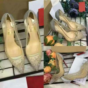 новая весна лето Элегантные стили женской обуви на высоких каблуках Rhinestone кристаллы заостренный носок сетки насосы женщина красной подошвой свадебные туфли