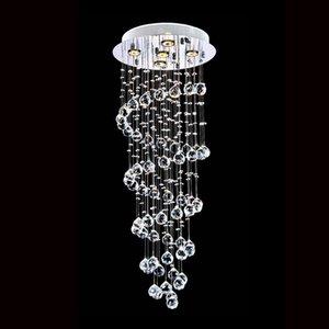 Flush moderna K9 di cristallo a spirale della goccia di pioggia lampadario illuminazione LED della staffa di fissaggio a soffitto della lampada di pendente della luce per pranzo Camera da letto Soggiorno