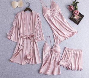 Juli SYJJF 4 Stück Faux Silk Pyjama Set Frauen reizvolle elegante weiche atmungsaktive Homewear Nachtwäsche Spitze Nachtwäsche Dresses77