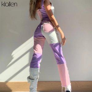 patchwork zipper femmes pantalon taille haute de KLALIEN mode hip hop de Disco Pantalons dames haute rue Pantalons 2020 T200826
