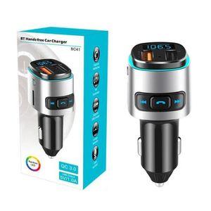 BC41 Car MP3 player Bluetooth transmissor FM Música receptor sem fio Jogador QC3.0 USB Car Charger Suporte U disco / TF