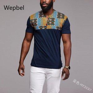WEPBEL costura Impresso manga curta Tops Estilo Nacional T-shirt Plus Size Estilo assentamento Africano shirt dos homens do pulôver camisetas