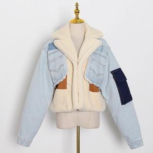Australia Inverno New Fashion Suit Collar Collar Cuciture a contrasto Agnello Amblea Allent Spessa Giacca in denim