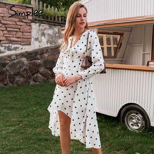 Simplee polka dot sexy femmes robe de soirée arc-noeud manches élégant demi-midi flowy sundress vacances Mesdames jour robe midi