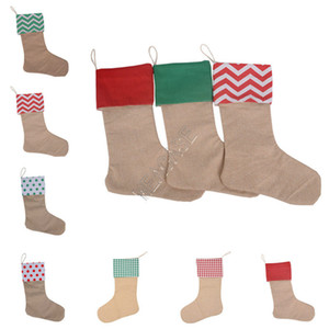 Designers Pure Cotton Canvas Christmas Stocking Gift Bags Fashion Christmas Decors Xmas stocking Large Plain Burlap Decorative Socks D92106