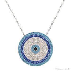 geometric big round evil eye necklace high quality micro pave nano turquoise trendy gorgegous jewelry
