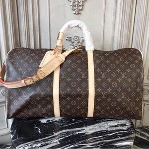 2020 bolsa de viaje de los hombres de las mujeres calientes de la lona bolsos de equipaje de cuero bolsa de gran capacidad 55CM bolsas de deporteLVLOUISVUITTON