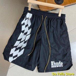 Pantaloncini da petrolio Rhude Checker 2020 Uomini Donne Donne Rhude Stampa Pantaloncini Estate di buona qualità Oversize BreechCloth Mesh Fodera L9D1 #