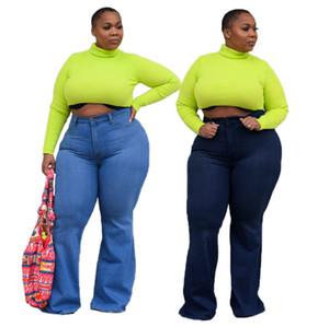 5XL vaqueros de las mujeres de moda flaco pantalones rectos más mujeres del tamaño de los pantalones vaqueros ropa ligera Deep Blue Jeans Denim llamarada