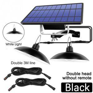 mise à niveau solaire Pendant Light Double tête solaire Pendant Light Extérieur Intérieur Lampe solaire étanche IP65 Eclairage Exterieur