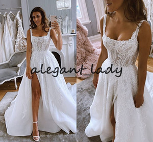 Pallas couture Boho Rrouwjurk Beach Wedding dresses With Detachable Train 2021 Beaded Word Lace Applique Square Silt Bride Mermaid Dress