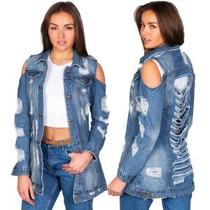 Tmustobe Autumn Hole Ripped Jeans Jacket Women Off Shoulder Denim Coat Long Sleeve Sreetawear Hollow Out Outwear Single-Breaste T200827