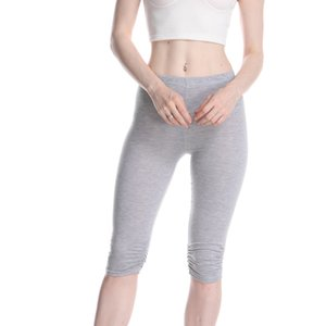 Quick Dry Skinny Leggings Casual Solid Crop Wide Waistband Cycling Short Leggings Summer Modern Lady Women Pants Trousers