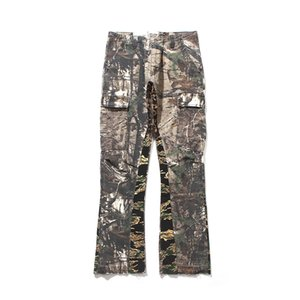 Street Loose Dept Camouflage Patchwork Gallery Pants Jeans 2021 Couples Wide Leg Women High Men Hip-hop New Fit Jeans Kfqst