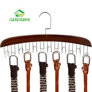 JiangChaoBo 12 Madera Cinturón Bastidores de acero inoxidable de los ganchos del armario de guardarropa Pañuelos Lazos Organizador Percha Y200429