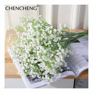 Düğün Sahte Çiçek Dekorasyon Gypsophila paniculata çiçekler 52cm Uzunluk Beyaz Gelin Buketi Yapay Babysbreath CHENCHENG QA8b #