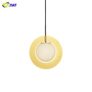 FUMAT Nordic Personality Pendant Lamp Brass Pure Copper Kitchen Restaurant Hanging Lamps for Living Room Glass Pendant Light Fixtures