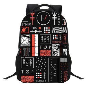 Fashion Cartoon Boys Laptop Shoulder Bags Twenty One Pilots Printing Backpacks School Bookbag for Teenagers Boys Mochila