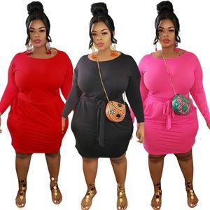 بالاضافة الى حجم فساتين النساء 3XL 4XL 5XL الصلبة كم طويل ضمادة فساتين قطعة واحدة عارضة الركبتين اليومية اللباس فوق