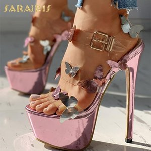 Sarairis 2020 Фетиш Экстремальный Высокие каблуки сандалии женщин обувь платформы Super High Пряжка ремешка партии Свадебные Pump Дамы