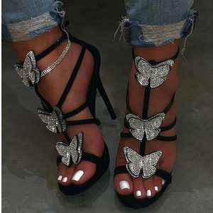 Bayan Ayakkabı Rhinestone Bow Yüksek Topuklar Sandalet Kadınlar Hollow İnce Topuklar Roman ile 2020 Yeni Sandalet