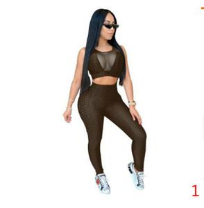 PLUS Taille Taille Tracksuits de Yoga Pour Femmes Ensemble de piste de sport de Yoga sans manches avec Point de vue serré Pullover Gilet Sexy Gilets Pantalons Suit Taille XS-5XL