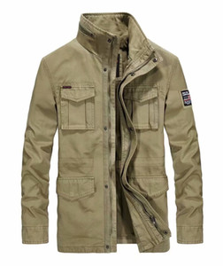 ICPANS 코튼 데님 재킷 남성 긴 스탠드 칼라 멀티 포켓 캐주얼 코트 군사 남성 스포츠 재킷 재킷 플러스 사이즈 XXXL 4XL