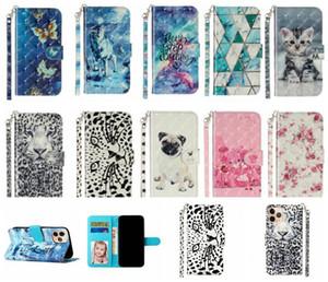 3D 만화 지갑 가죽 케이스 아이폰 (12) (11) 프로 맥스 X XS XR SE 2020 6 6S 7 8 PLUS 5 5S 스트랩 꽃 타이거 고양이 개 플립 스탠드 전화 커버
