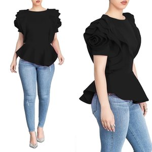 Hot Sale Women Blouse Tops Shirt Layers Petal Sleeveslegant Fashion Spring Summer Rose Red Blue Black White Bluas Ruffles Classy Lady