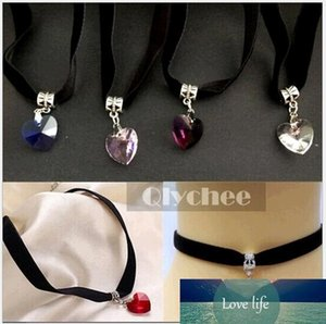 Wholesale Crystal Heart Pendant Choker Collar Lace Velvet Ribbon Vintage Necklaces Jewelry for Women Chokers Six Colors