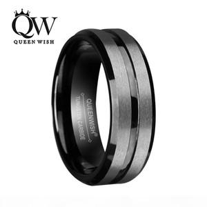 8 mm noir en carbure de tungstène anneau pour hommes et femmes d'argent brossé et bande noire Wedding Bands Promise Bague de fiançailles de bijoux fantaisie