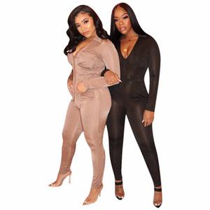 Partito Amazon di vendita caldo donne Work Out Body alta qualità elasticità latte seta pagliaccetti casuali V collare paillettes Abbigliamento taglie