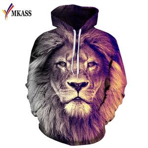 2020 Estilo Animal Hot MKASSS de Moda de Nova Moletons Homens Mulheres Pullovers / Imprimir Tops Lion Hoodies com capuz Fatos Outono Fina