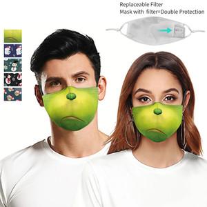 2 Filtreler ile 3D Dijital Baskı 5 Stiller Ayarlanabilir Koruyucu Yüz Maskesi PM 2.5 toz geçirmez Anti-Pus Yetişkin Yeniden kullanılabilir Maskesi