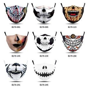 New designer face mask adults fashion washable comfortable Skull mask digital printing mouth mask Adjustable ear-hanging protective