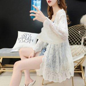Très fée creuse sur Internet tricotée mince cardigan féminin 2020 été nouveau lâche célébrité top soleil épreuve Top Air Conditioner Coat air cond