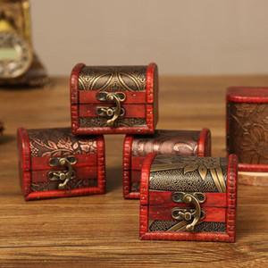 무료 배송 빈티지 보석 상자 주최자 보관 케이스 미니 나무 꽃 패턴 금속 컨테이너 수제 나무 작은 상자 DHF101을 200PCS