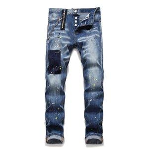 Stirata sottili jeans progettista del Mens pantaloni a matita Vintage con pulsante di moda casual da uomo pantaloni 2021 nuovi arrivi