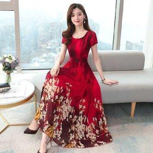 FeWnM 2020 Yaz yeni moda çiçek anne kız over-the-diz uzun yaz toplanan bel ince elbise ince elbise mizaç