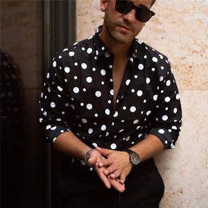Casuales de vestir para hombre camisas de Calle Homme Ropa diseñador del lunar de la camisa para hombre otoño del resorte de manga larga