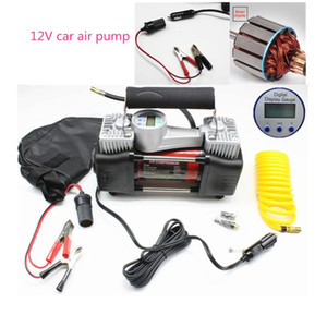 Tyre Inflatable Pump Automobiles Double cyclinders+Emergency lamp + pure copper motor Car Air tire Compressor 12v with carry bag