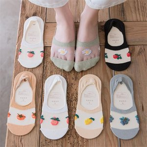 Low Cut Socks Summer New Fruits Embroidery Women Short Socks Breathable Transparent Elasticity Net Yarn Thin Invisible