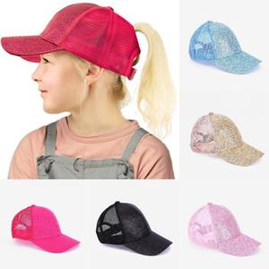 Kid Paillettes Coda di cavallo Berretto da baseball glitter Messy Bun cappelli estivi regolabile Visiera Outdoor Fashion Snapback Caps sfera DDA362